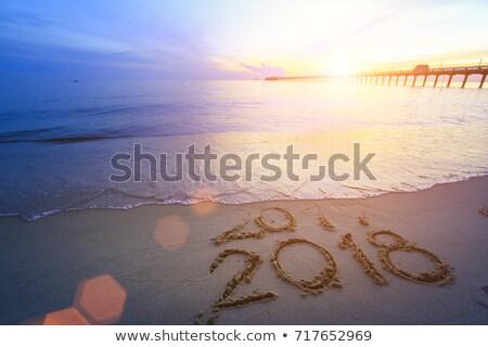 új év felirat tengerparti homok hullám öböl számjegyek Stock fotó © galitskaya