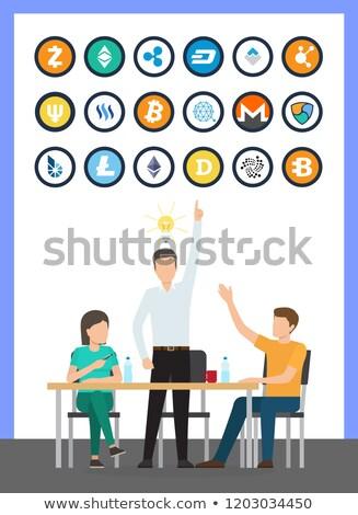 Bitcoin valuta idee masculin conferinţă vector Imagine de stoc © robuart