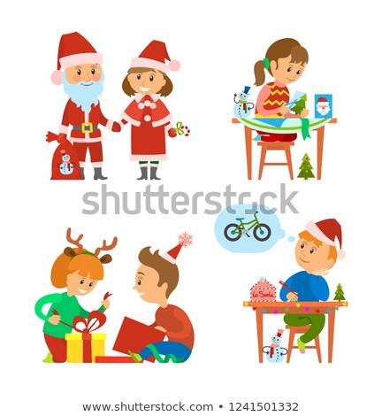 Geschenken kinderen winter vector vrolijk Stockfoto © robuart