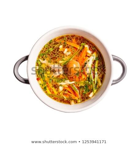 オンドリ スープ 薫製 卵 野菜 ストックフォト © grafvision