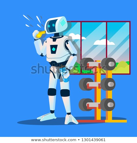Robot Sports Coach Whistles In Gym Vector. Isolated Illustration Stock photo © pikepicture