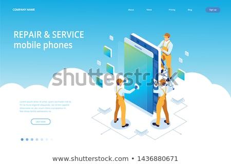 Smartphone naprawy lądowanie strona usługi duży Zdjęcia stock © RAStudio