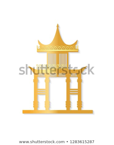 Golden and White Torii with Decorated Roof Vector Stock photo © robuart
