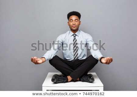 бизнесмен · медитации · служба · молодые · столе · компьютер - Сток-фото © andreypopov