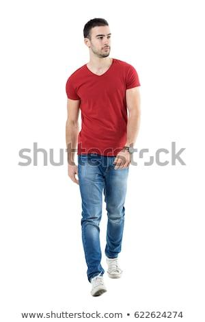 Młodych przypadkowy człowiek spaceru naprzód biały Zdjęcia stock © feedough