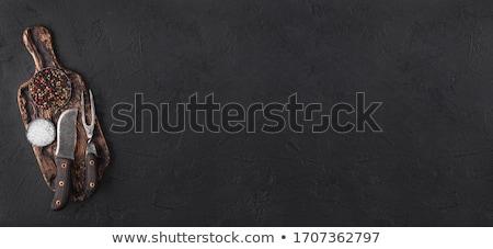 vintage · carne · faca · preto · pedra · tabela - foto stock © denismart