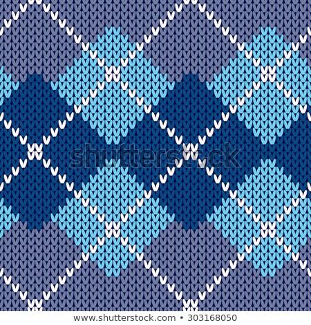 シームレス 編まれた パターン 青 ジグザグ 刺繍 ストックフォト © ESSL