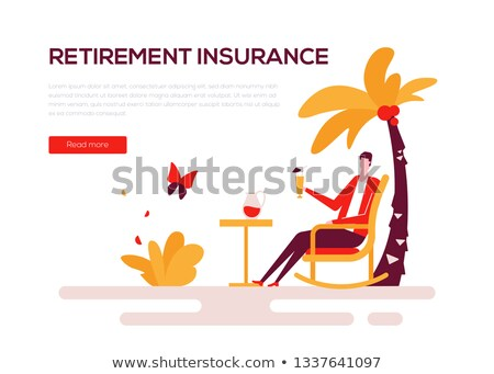Retirement insurance - colorful flat design style web banner Stock photo © Decorwithme