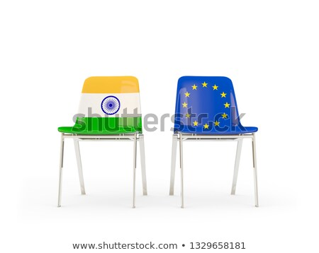 Two chairs with flags of India and european union Stock photo © MikhailMishchenko