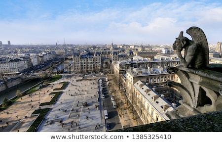 Stock fotó: Párizs · Notre · Dame-katedrális · templom · városkép · Eiffel-torony · Franciaország