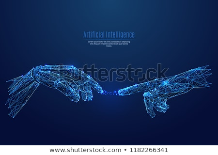 Hand in a dark space with virtual connection concept Stock photo © ra2studio