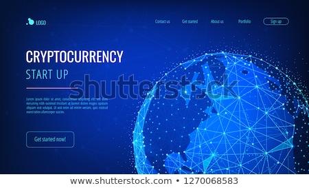 Blockchain technology futuristic hud banner with world globe. Stock photo © RAStudio
