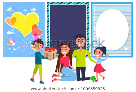 Friends Day Banner with Boy Giving Present Parents Stock photo © robuart