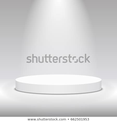 Round stage podium. Stage vector backdrop. Festive podium scene with blue carpet and confetti for aw stock photo © olehsvetiukha