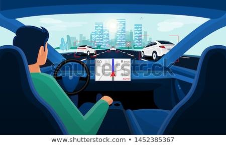 szczęśliwy · przyjaciela · posiedzenia · wewnątrz · samochodu · patrząc - zdjęcia stock © andreypopov