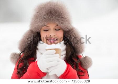 幸せ 女性 冬 毛皮 帽子 コーヒー ストックフォト © dolgachov
