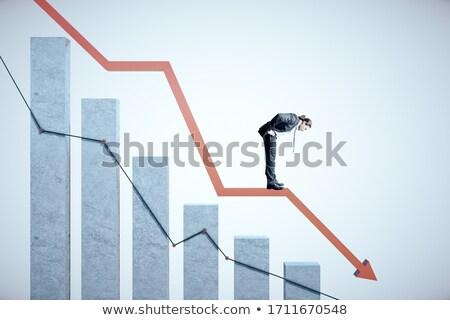 бизнесмен паника падение диаграммы Поп-арт ретро Сток-фото © studiostoks