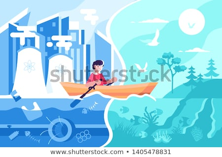 Man swimming on boat from town to nature Stock photo © jossdiim