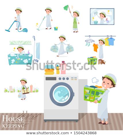 Arab boy_housekeeping Stock photo © toyotoyo