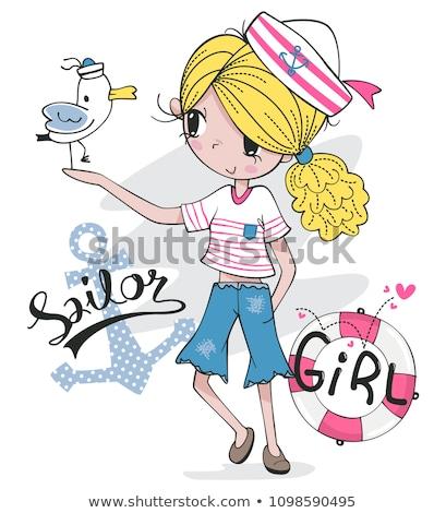 Piękna dziewczyna marynarz cap pokład statku ilustracja Zdjęcia stock © jossdiim