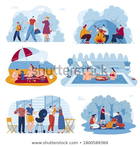 Stock fotó: Turisztikai · emberek · pár · erdő · eszik · étel
