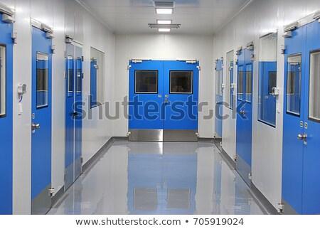 steel doors in hospital corridor Stock photo © dolgachov