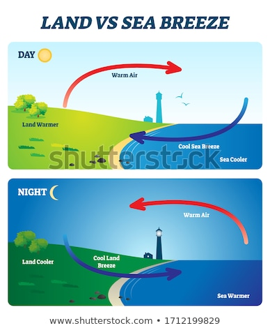 Diagram of sea breeze with land and water Stock photo © bluering