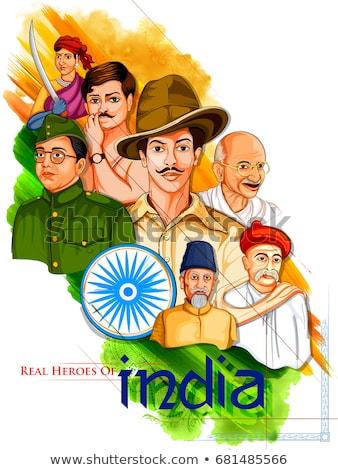 India background with Nation Hero and Freedom Fighter Mahatma Gandhi for Gandhi Jayanti Stock photo © vectomart