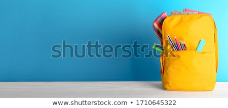 Stock photo: Back to school banner color pencils on chalk board