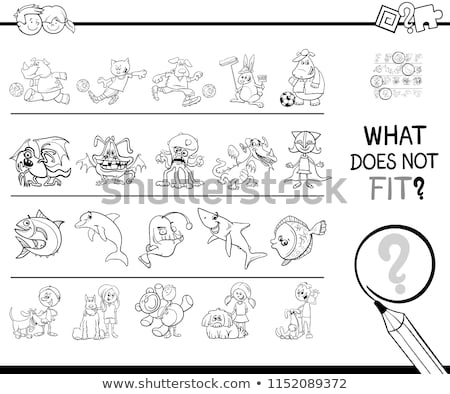 find wrong picture in a row game coloring book stock photo © izakowski