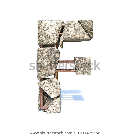 Concrete fracture font Letter F 3D Stock photo © djmilic