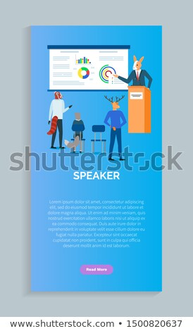 Stock photo: Speakers on Conference Vector Rabbit Making Report