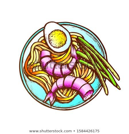 Creveţi ou ceapa verde cerneală vector Imagine de stoc © pikepicture