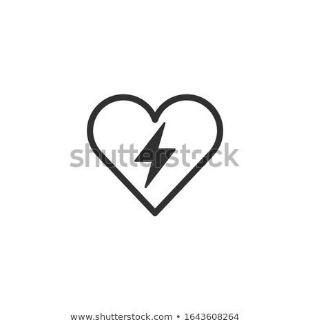 Kaya yıldırım kalp ikon ince hat Stok fotoğraf © kyryloff