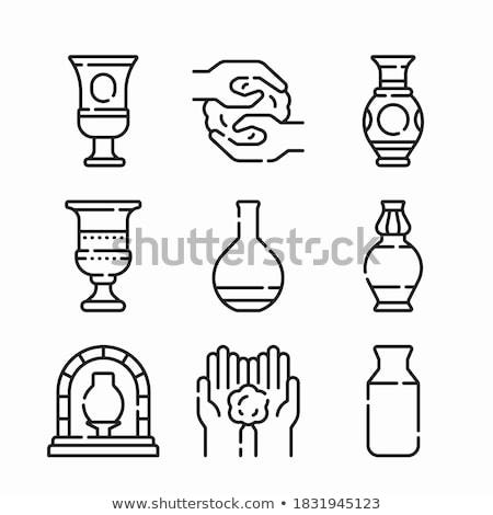 Cserépedények kerámia gyűjtemény ikon szett vektor felszerlés Stock fotó © pikepicture