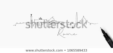 Rome City skyline black and white silhouette.  Stock photo © ShustrikS