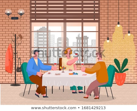 People Have Lunch in Restaurant, Homelike Interior Stock photo © robuart