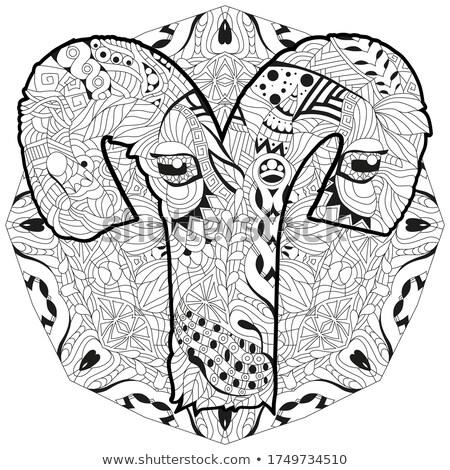 Aries zodiac sign cute cartoon lion character retro zentangle stylized in vector with mandala Stock photo © Natalia_1947