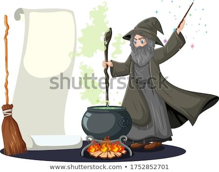 Edad negro magia olla varita mágica Cartoon Foto stock © bluering