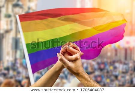 Férfi pár homoszexuális büszkeség zászlók kéz a kézben Stock fotó © dolgachov