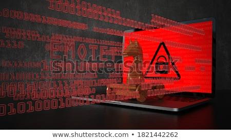 Houten trojaans paard Rood gegevens tekst Stockfoto © limbi007