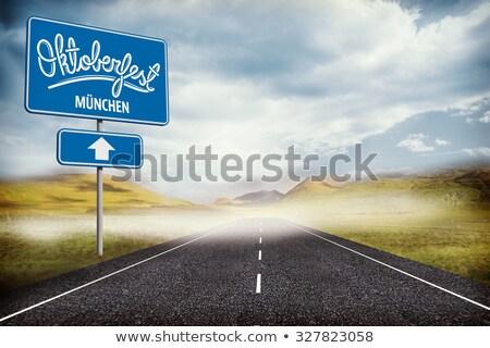 Октоберфест · шоссе · знак · зеленый · облаке · улице · знак - Сток-фото © kbuntu