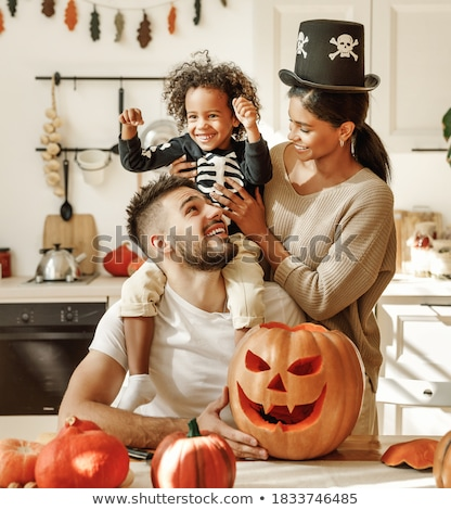little boy and parents preparing halloween party stock photo © photography33