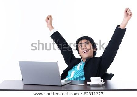 Młodych człowiek biznesu relaks szczęśliwie pracy komputera Zdjęcia stock © dacasdo