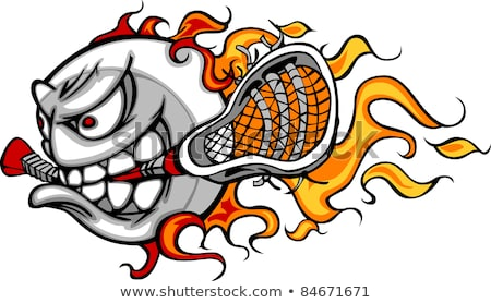 Lacrosse Ball Flaming Face Vector Image Stock photo © chromaco