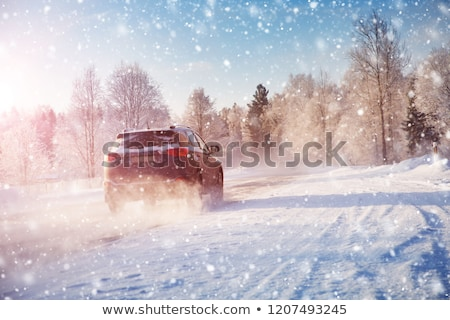 Stock fotó: Autók · hó · csetepaté · parkolás · fedett · út