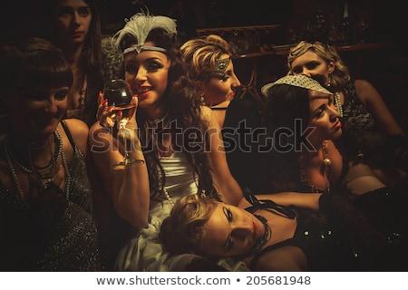 Beautiful girl in retro dress and veil Stock photo © zastavkin