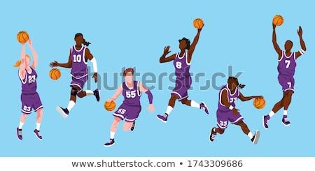 basquetebol · jogo · silhuetas · saltar · equipe · bola - foto stock © leonido