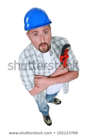 механиком · синий · гаечный · ключ · портрет · молодые - Сток-фото © photography33