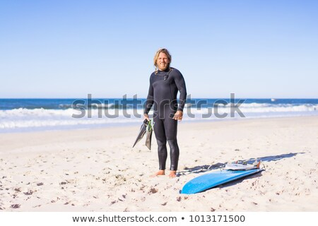 young female surfer with bodyboard and flippers stock photo © photography33